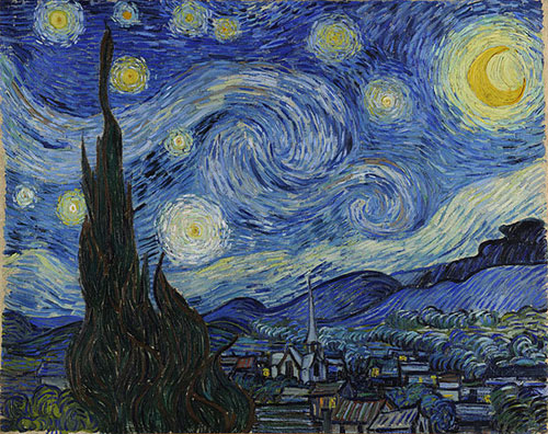 The Vincent van Gogh painting 'The Starry Night', showing a deep blue swirling night sky with a yellow moon and stars over a village dominated by a spired church tower
