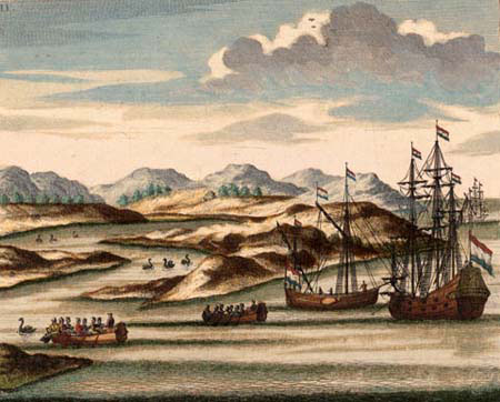 Painting of sailing ships with black swans, at the entrance to the ...