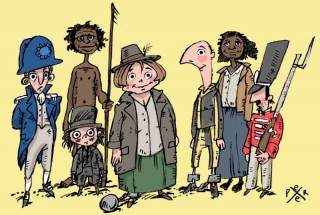 A comic style illustration of a range of people from colonial times