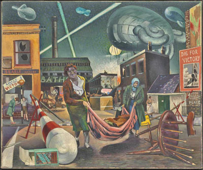 Clive Benason painting titled Bombed Women and Searchlights